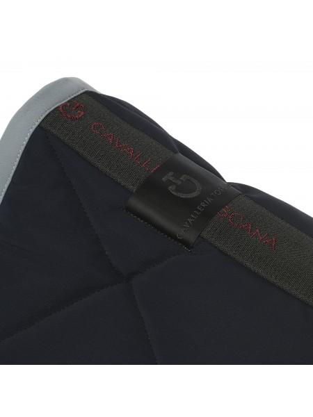 Cavalleria Toscana dressur Jersey Quilted Rhombi underlag i lækker farve kombination af navy og grå.