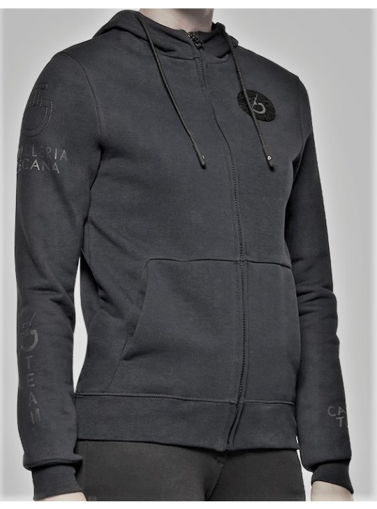 """CT """"Team"""" Multi-Logo Zip Hoodie, Dark Grey"""